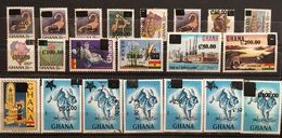 Ghana 1988 Shurch. 21 Stamps 1rst Stamp 5mm Spacing Between Block And C20.00  2nd Stamp !!2!! Seriffed 3rd Without Seri - Ghana (1957-...)