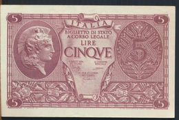 °°° ITALIA - 5 LIRE ATENA  23/11/1944 - BS.31 °°° - [ 1] …-1946 : Kingdom
