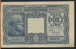 °°° ITALIA - 10 LIRE TESTA DI GIOVE 23/11/1944 - BS.47 °°° - [ 1] …-1946 : Kingdom