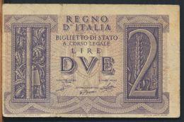 °°° ITALIA - 2 LIRE FASCIO 14/11/1939 °°° - Italia – 2 Lire