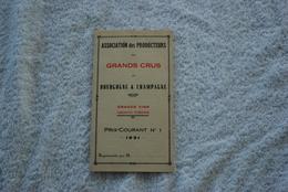 TARIF DE LASSOCIATION DES PRODUCTEURS DE BOURGOGNE ET CHAMPAGNE 1931 - Factures