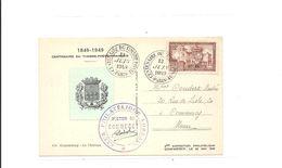 Carte Exposition Philatelique Commercy  Centenaire Du Timbre 1949 Vignette 2 - Storia Postale