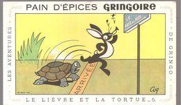 Buvard GRINGOIRE PAIN D'EPICES GRINGOIRE Les Aventures De Gringo N°5 Le Lièvre Et La Tortue - Gingerbread