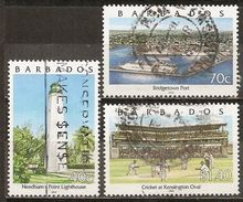 Barbados 2000 Views Vues Avec Cricket, Lighthouse Phare Etc Obl - Barbados (1966-...)