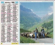 ALMANACH DU FACTEUR 1990 LA POSTE  OBERTHUR Transhumance Berger  Chèvres - Big : 1981-90