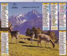 ALMANACH DU FACTEUR 1991 LA POSTE  OBERTHUR Montagne Neige Traineau Biche Cerf - Big : 1991-00