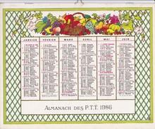ALMANACH DES P.T.T   1986    OBERTHUR Fruit Légume Jardin été - Big : 1981-90