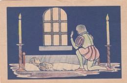 Snow White Sneeuwwitje Prince Kneels Before Sleeping Snow White Artitst Image, C1920s/30s Vintage Postcard - Fairy Tales, Popular Stories & Legends