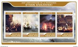 TOGO 2017 SHEET IVAN AIVAZOVSKY ART PAINTINGS ARTE PINTURAS Tg17218a - Togo (1960-...)
