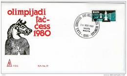 Chess Malta 1980 Chess Olympiads, Cover - Malte
