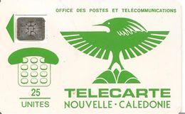 CARTE-PUCE-NOUVELLE-CALEDONIE-25U-NC1a-SC4-7mm-CAGOU VERT-V°N° 5 Pe 17962-BE Usagé-Maculage RARE- - New Caledonia