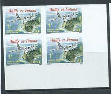 Wallis & Futuna 1979 1 Fr Inter Isle Plane Service Imperforate Block Of 4 MNH - Wallis And Futuna