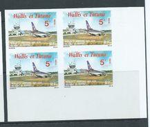 Wallis & Futuna 1979 5 Fr Airport & Plane Imperforate Block Of 4 MNH - Wallis And Futuna