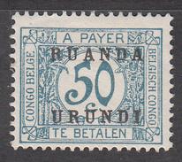 RUANDA-URUNDI     SCOTT NO.  J6      MINT HINGED       YEAR  1924 - Ruanda-Urundi