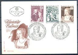 1971 , AUSTRIA ,SOBRE DE PRIMER DIA , TEMA ARTE , PINTURA , BRUEGEL , TIZIANO , DURERO - Arte