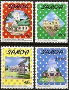 Samoa1988   Christmas Christian Churches, Baha'i Temple  4 Values MNH - Chiese E Cattedrali
