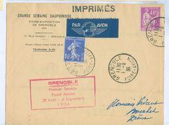 1936 France Grenoble Foire Avion Cover First Flight Cachet, Bron Aeroport Cancel - Airmail