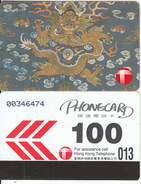 HONG KONG - Tapestries/Dragon, Hong Kong Telecom Telecard $100(medium CN, 0 With Barred), 03/91, Used - Hong Kong