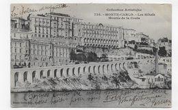 (RECTO / VERSO) MONTE CARLO - N° 738 - LES HOTELS ET MONTEE DE LA COSTA - CACHET ET TIMBRE DE MONACO - CPA - Hotels