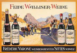 Feine Walliser-Weine Frédéric Varone Sitten 1926 - Postcard - Poster Reproduction - Publicité