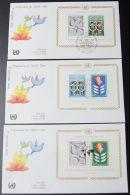 UNO NEW YORK - WIEN - GENF 1980 3 Blöcke FDC - Briefmarken