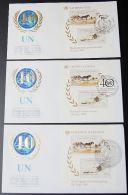 UNO NEW YORK - WIEN - GENF 1985 3 Blöcke FDC - Briefmarken