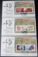 UNO NEW YORK - WIEN - GENF 1990 3 Blöcke FDC - Briefmarken