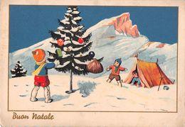 """D7029 """"BUON NATALE"""" BAMBINI, ABETE DECORATO, TENDA DA CAMPEGGIO, NEVE. CART SPED 1937 - Natale"""