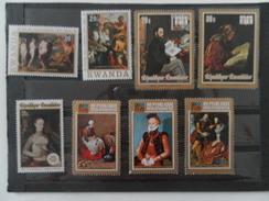RWANDA LOT DE 11 TIMBRES SUR LA PEINTURE - Collections