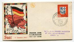 SARRE Retour De La Saar à L'Allemagne 1° Janvier 1957 - French Zone