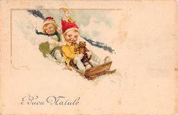 """D7032 """"BUON NATALE"""" ANIMATA, BAMBINI SU SLITTINO, NEVE, ORSETTO PELUCHE, PUPAZZO GNOMO. FIRMATA C. MARI. CART SPED 1923 - Natale"""