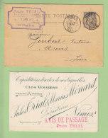 NIMES : Jules Trial, Propriétaire Vigneron, Clos Vessière, Entier Postal 1892 + Avis Passage . 2 Scans. - Nîmes