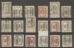 Belgique - 1900/12 - Préoblitérés Bruxelles - Armoiries - Cob 53/81/83 - Petit Lot De 18 - Préoblitérés