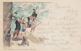 Lecture Du Journal En Position Inconfortable - 1899 - Cartes Postales