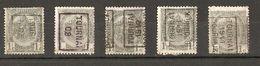 Belgique - 1905/11 - Préoblitérés Tournai - Doornijk - Armoiries - Cob 53/81 - Petit Lot De 5 - Precancels