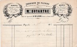 1860 - DIJON (21) - FABRIQUE DE FLEURS - Maison Melle DUTARTRE - Place Du Spectacle - Historische Documenten