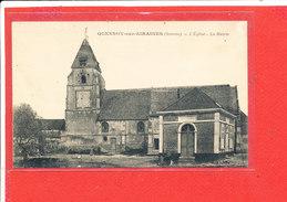 80  QUESNOY Sur AIRAINES Cpa Eglise Et Mairie  Edit L C Caron - France