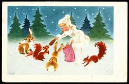 2990 - - H. Vith ?? Glückwunschkarte - Weihnachten - Hasen Mädchen Eichhörnchen - Gel 1950 - Weihnachten