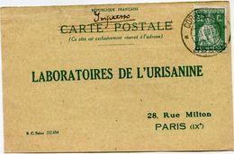 PORTUGAL CARTE POSTALE BON POUR UN FLACON ECHANTILLON D'URISANINE DEPART BRAGA 9-8-27  POUR LA FRANCE - 1910 - ... Repubblica