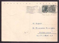 134  - TRIESTE -  CARTOLINA POSTALE PER TERAMO - Storia Postale