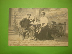 Couple De Cyclistes Mangeant à Table à L'extérieur , 1903, Timbre (A3) - Couples