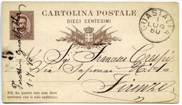 C071> Cartolina Postale Da DIECI 10 CENTESIMI - 1 LUGLIO 1880 = Da Guastalla A Firenze - Tematica: Vino CHIANTI - 1878-00 Umberto I