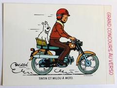 Autocollant La Vache Qui Rit Tintin Et Milou En Moto Hergé 1976 Grand Concours De Dessin - Autocollants