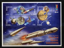 Antigua & Barbuda, 1999,  Space,  Spunik, Explorer, Pioneer, Ranger, Mariner, Satellite - America Del Nord