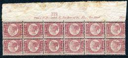 Great Britain 1870 ½d Rose-red Bantam – Plate 13 – Marginal Mint Block Of 12 - Unused Stamps