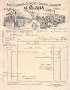 SUISSE , FRANCE - LE LOCLE , MORTEAU - FABRIQUES DE CHOCOLAT ET CONFISERIE KLAUS - 1905 - Switzerland