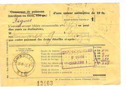 Document De Douane Pour Figues Taxée 3.50 Frs C.Charleroi 16/3/1943 + TP Fiscaux 2 Fx2 AP1243 - Taxes