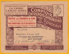 1938 - Enveloppe Commerciale Illustrée Art Nouveau - Vins - De Bordeaux Vers Castres - Cad Arrivée - Comptoir Des Entrep - 1921-1960: Modern Tijdperk