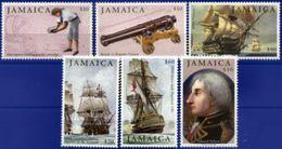 JAMAICA, 2005, BICENTENARY OF THE BATTLE OF TRAFALGAR, YV#1084-89, MNH - Jamaica (1962-...)