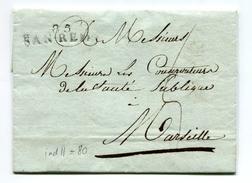 !!! DEPARTEMENT CONQUIS, DEPARTEMENT DES ALPES MARITIMES LETTRE DE SAN REMO DE 1813 - Postmark Collection (Covers)